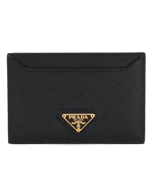 Prada - Black Logo Plaque Cardholder - Lyst