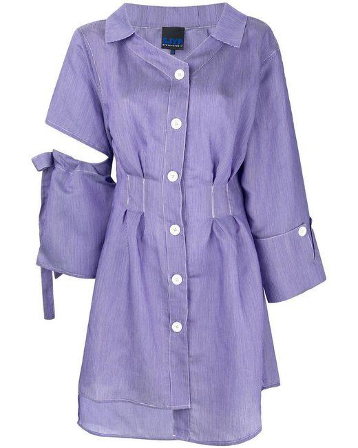 SJYP - Blue Cut-out Shirt Dress - Lyst