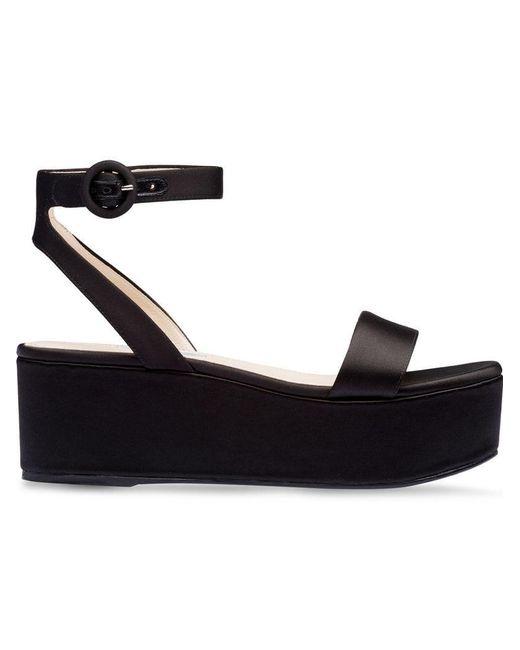 73b1e8b05324 Prada - Black Satin Platform Sandals - Lyst ...