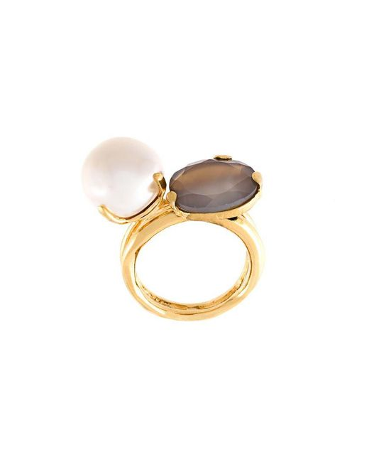 Wouters & Hendrix - Metallic 'my Favourite' Grey Agate And Pearl Ring - Lyst