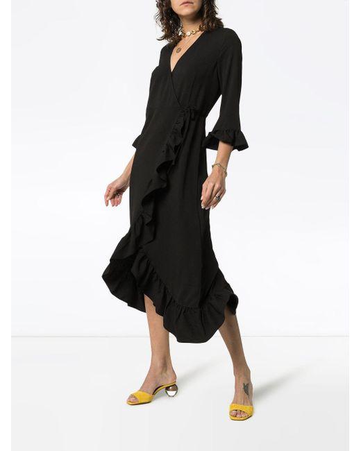 a075e63e Ganni Clark Ruffle Trim Wrap Dress in Black - Save 48% - Lyst