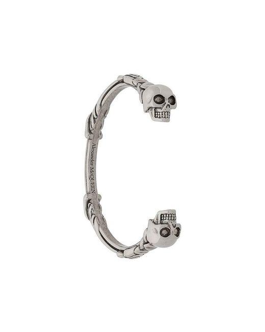 Alexander McQueen - Metallic Twin Skull Bracelet for Men - Lyst