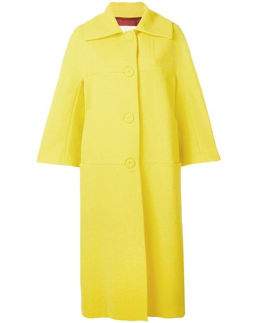 Sara Battaglia - Yellow Oversized Single Breasted Coat - Lyst