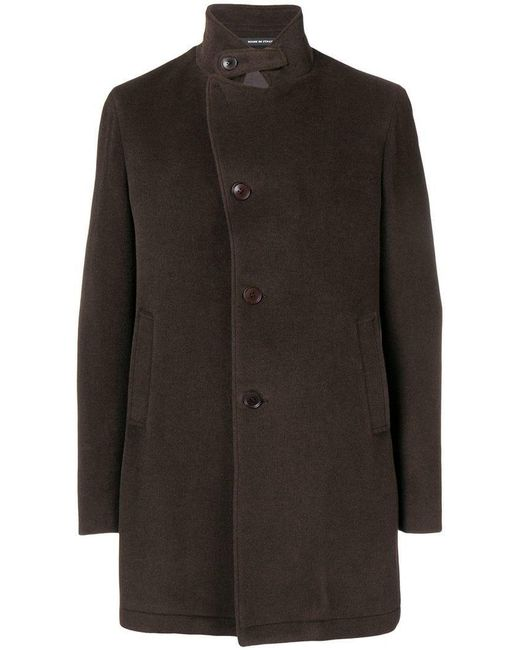 Tagliatore - Brown Concealed Front Coat for Men - Lyst
