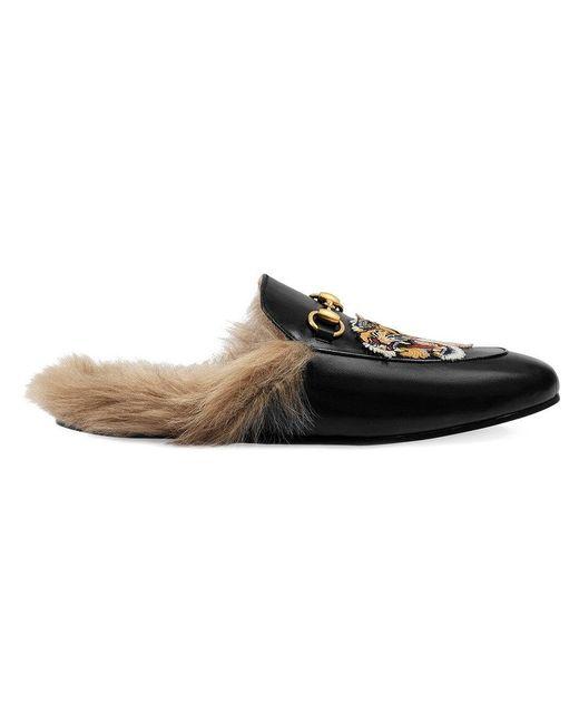 Gucci - Black Flaneurs a enfiler noirs Lion and Pierced Heart Princetown for Men - Lyst