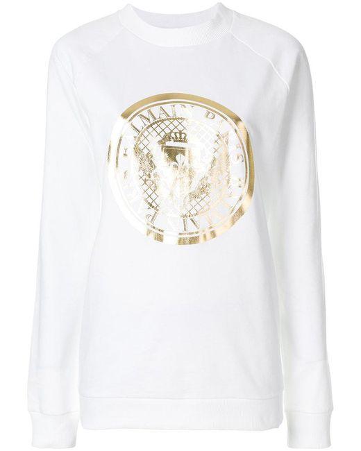 Balmain - White Medallion Logo Printed Sweatshirt - Lyst