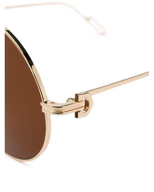29f4c0b66e ... Cartier - Metallic Round Frame Sunglasses - Lyst ...
