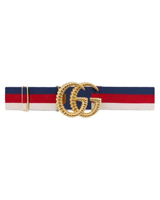 b9fd9bc30 Gucci - Red Web Elastic Belt With Torchon Double G Buckle - Lyst ...