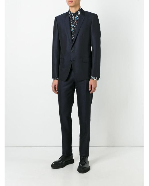 c8e69237bc3 Dolce   Gabbana Patterned Suit in Blue for Men - Lyst