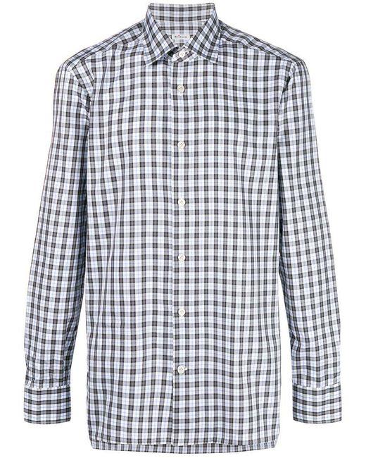 Kiton - Gray Checked Button Shirt for Men - Lyst