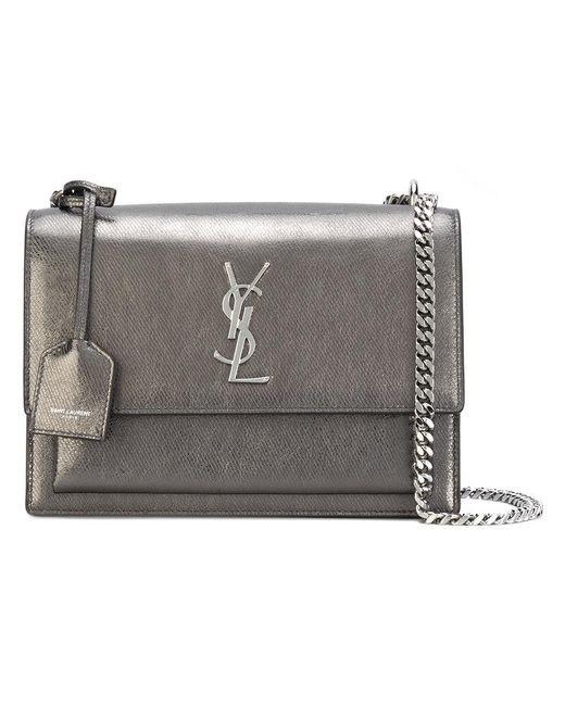Saint Laurent | Gray Monogram Shoulder Bag | Lyst