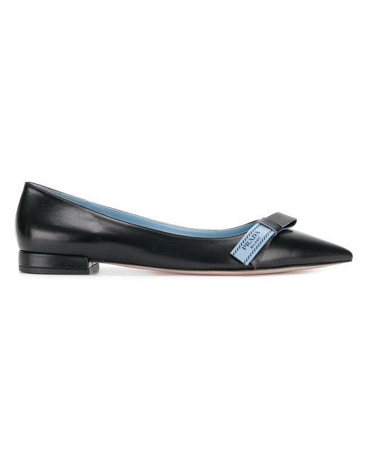 Prada - Black Pointed Toe Ballerina Shoes - Lyst