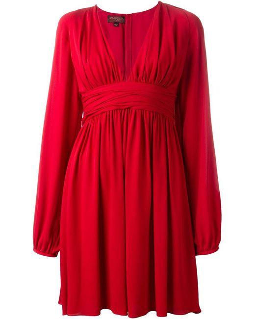Giambattista Valli   Red V Neck Circle Dress   Lyst