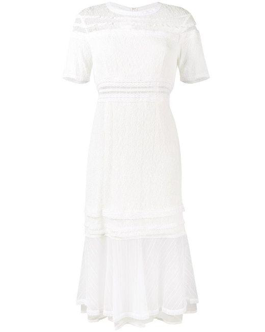 Jonathan Simkhai | White Lace Short Sleeve Midi Dress | Lyst