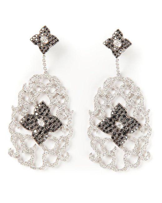 Elise Dray   White Diamond Floral Pavé Earrings   Lyst