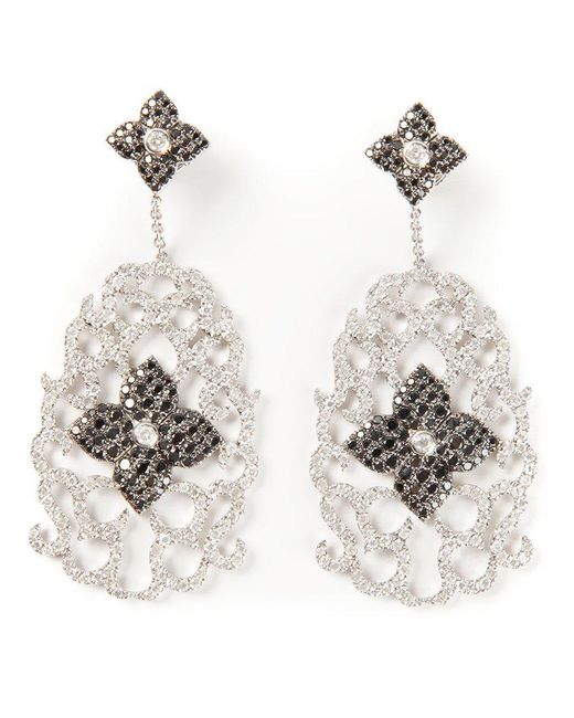 Elise Dray | Metallic Diamond Floral Pavé Earrings | Lyst