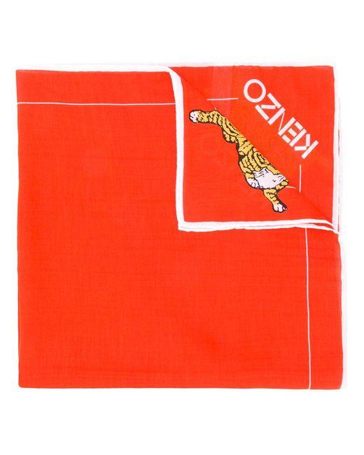 KENZO | Orange Tiger Logo Scarf | Lyst