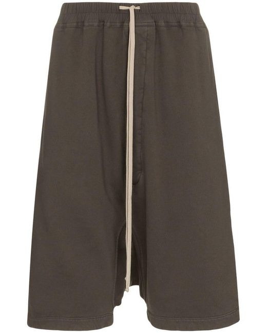 Rick Owens Drkshdw - Gray Grey Drop-crotch Cropped Cotton Shorts for Men - Lyst