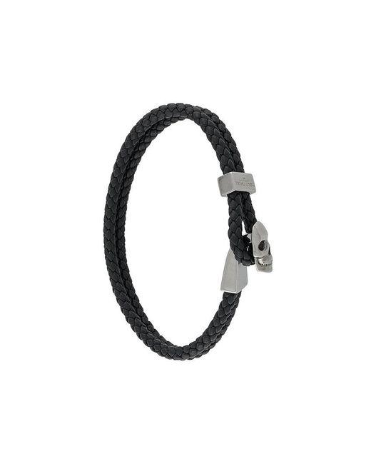 Northskull - Black Woven Streling Silver Skull Bead Bracelet for Men - Lyst