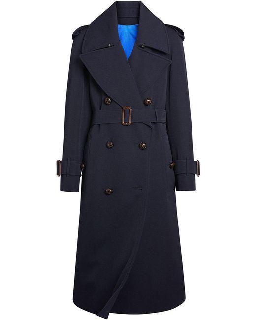 Burberry - Blue Oversized Lapel Gabardine Trench Coat - Lyst
