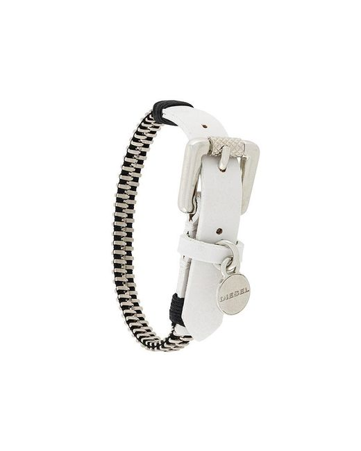 DIESEL - White Zipper Bracelet - Lyst