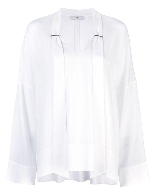 Tibi White Savanna Crepe Easy V-neck Tie Top