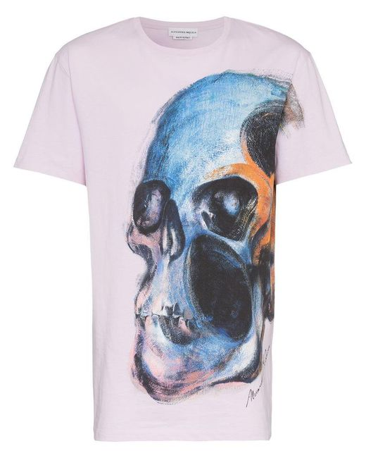 162c6e4c Alexander McQueen - Pink Large Skull Print Graphic T-shirt for Men - Lyst  ...