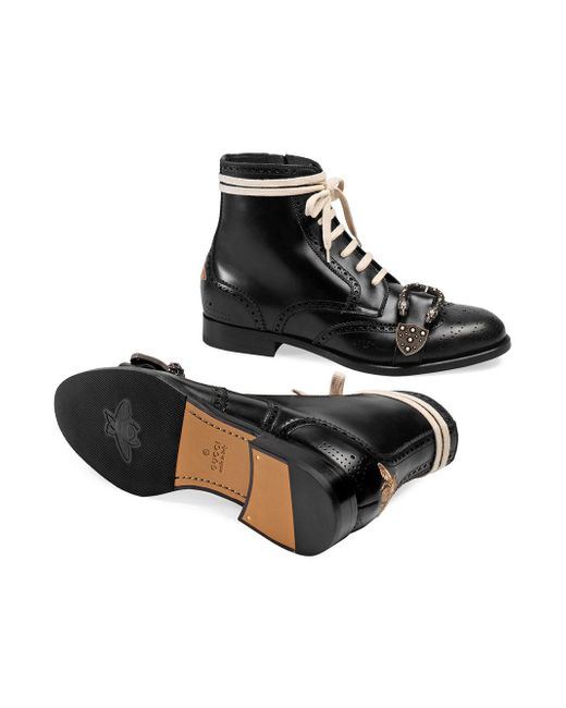 72cd91542e4 Gucci Black Queercore Leather Brogue Boot in Black for Men - Save 9 ...