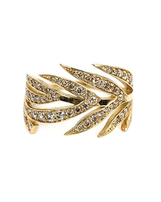 Marc Alary - Metallic Diamond Leaf Ring - Lyst