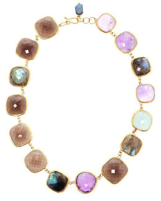 Ram - Metallic 18kt Gold Amethyst, Aquamarine, Labradorite And Smoky Quartz Necklace - Lyst