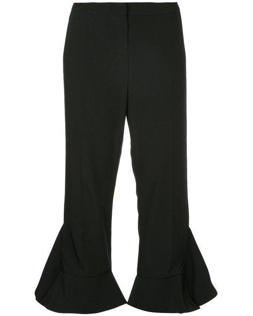 Goen.J | Black Cropped Ruffled Trousers | Lyst