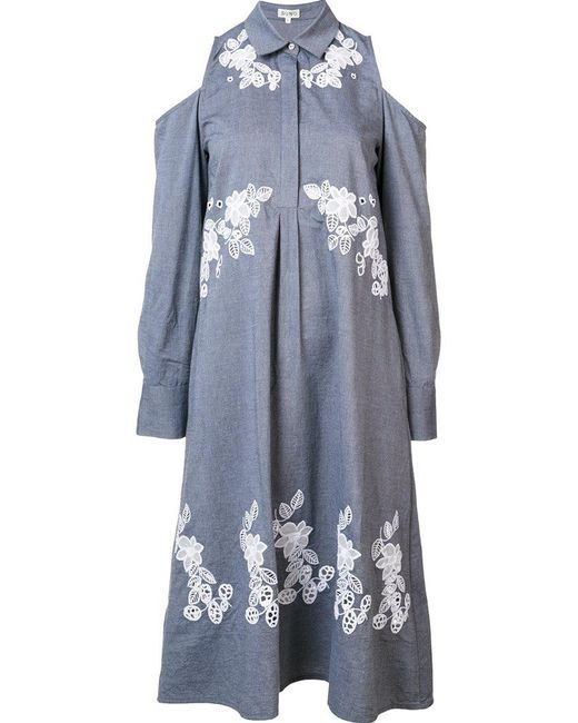 Suno - Gray Cut-out Shirt Dress - Lyst