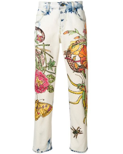 Gucci - Multicolor Floral-print Jeans for Men - Lyst