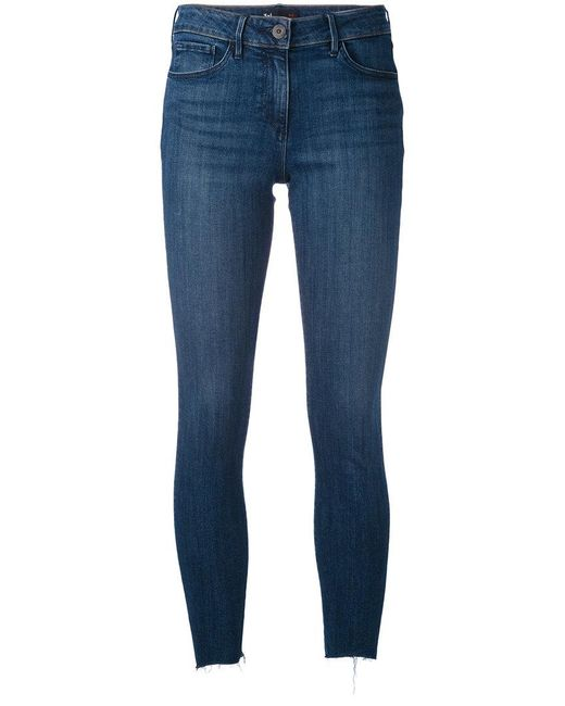 3x1 - Blue Frayed Cropped Jeans - Lyst