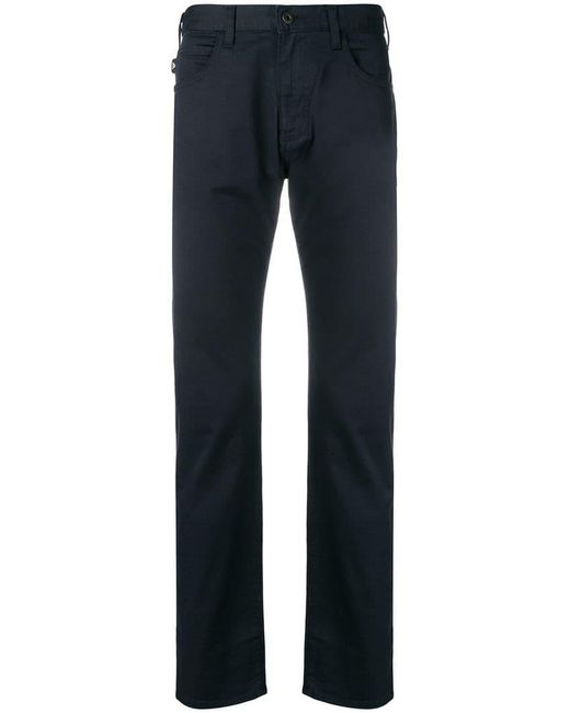 Emporio Armani - Blue Classic Slim-fit Trousers for Men - Lyst