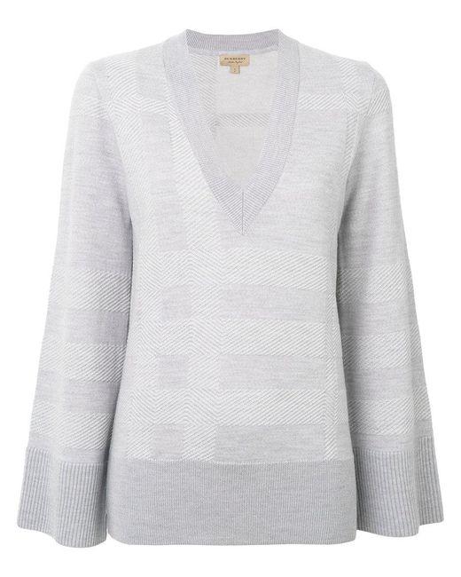 Burberry | Gray V-neck Sweater | Lyst
