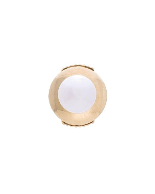 Yvonne Léon | Metallic Petit White Pearl Stud Earring | Lyst