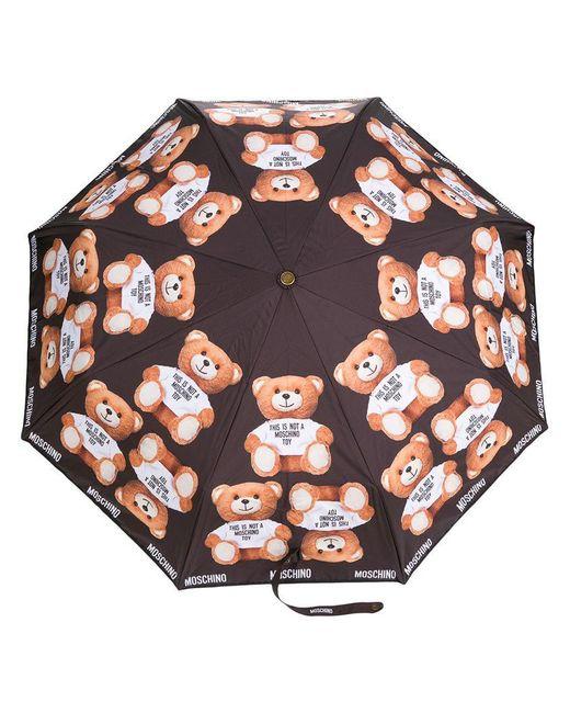 Moschino - Black Teddybear Logo Print Umbrella - Lyst