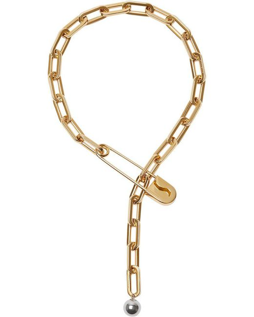 Burberry - Metallic Crystal Daisy Kilt Pin Gold-plated Link Drop Necklace - Lyst