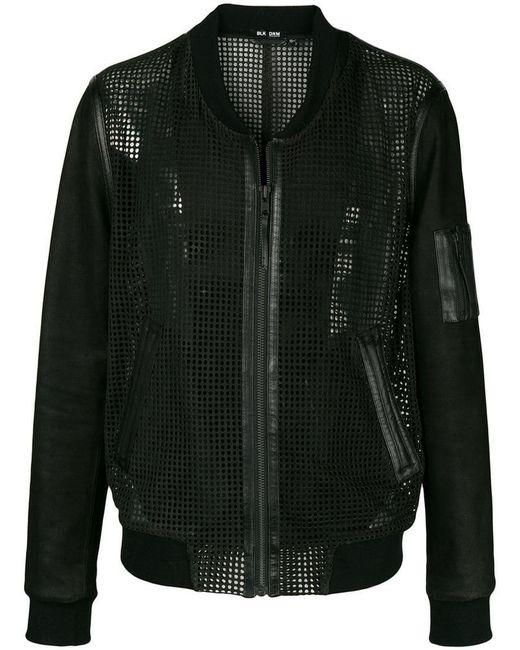 BLK DNM - Black Collarless Leather Mesh-like Jacket for Men - Lyst