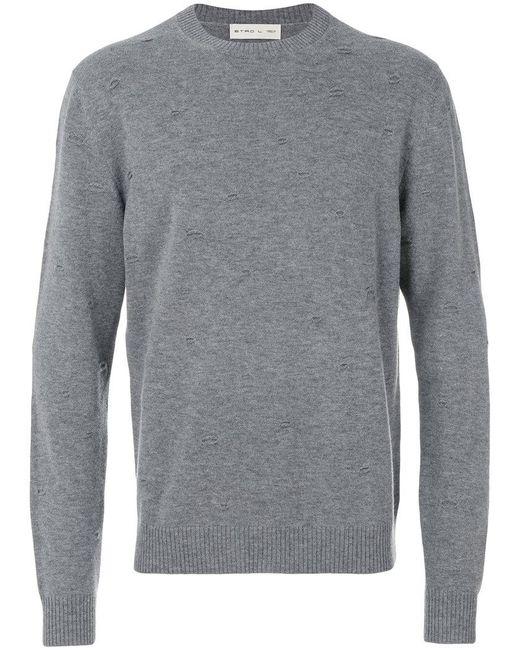 Etro - Gray Wollsweatshirt in Distressed-Optik for Men - Lyst