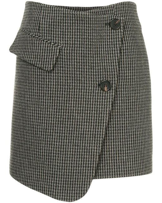 Goen.J - Gray Houndstooth Asymmetric Wrap Skirt - Lyst