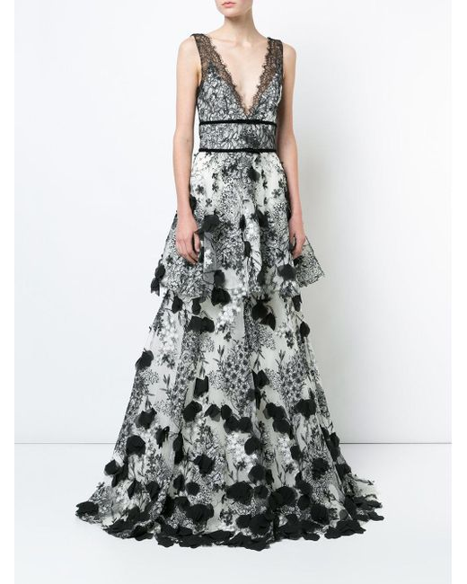 74d12fd4ed1 Marchesa notte Embroidered Maxi Dress in Black - Save 17% - Lyst