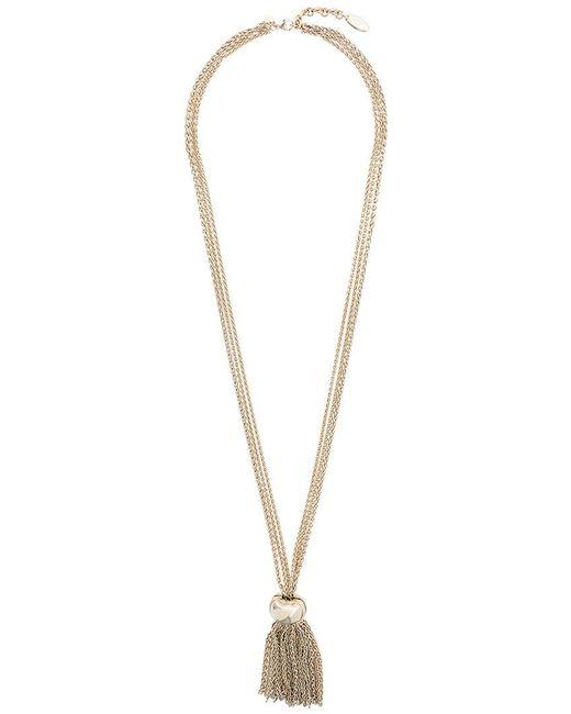 Lanvin - Metallic Multiple Strand Tassel Necklace - Lyst