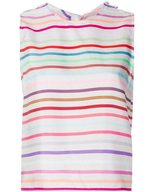 Emporio Armani - Gray Striped Top - Lyst
