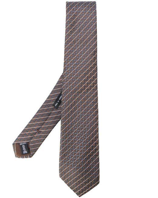 Giorgio Armani | Brown Woven Stripe Tie for Men | Lyst