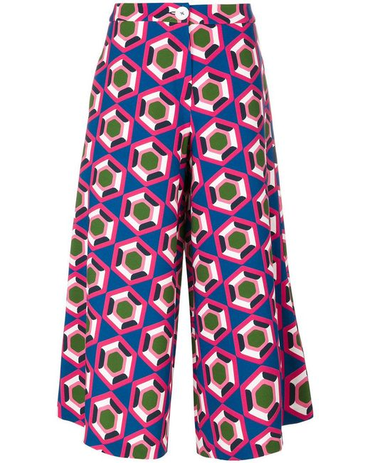 Parden's - Blue Printed Cropped Pants - Lyst