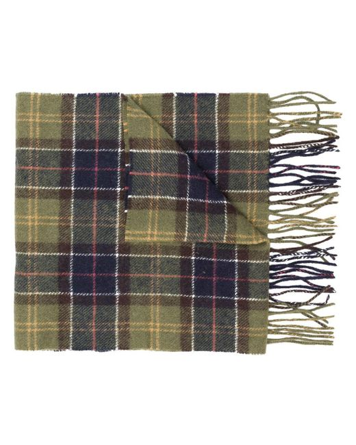 Barbour - Green Checked Scarf for Men - Lyst