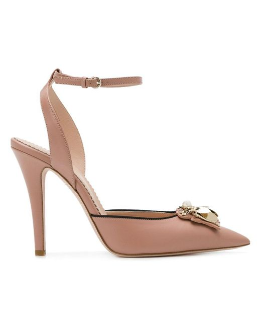 RED Valentino - Pink Embellished Pointed Pumps - Lyst