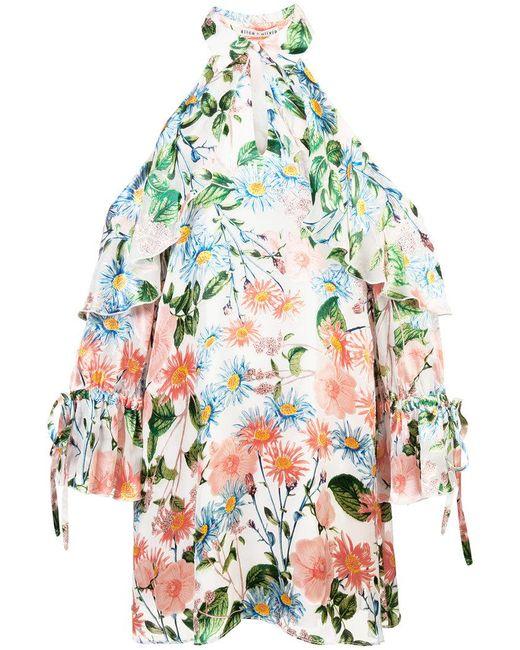 Alice + Olivia - White Floral Cold Shoulder Dress - Lyst